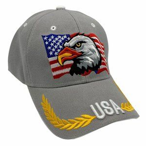 USA Flag Patriotic Embroidered Baseball Cap Gray
